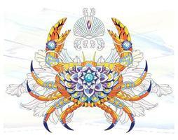 Motif crabe sur fond de trait de pinceau aquarelle vecteur