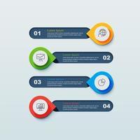 Infographie en 4 étapes avec des épingles pointant vers des bannières