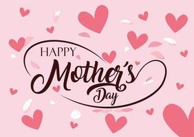 carte de fête des mères heureux avec des coeurs vecteur