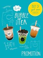 Promotions spéciales du thé Bubble Tea sur le thème du monstre dessiné à la main vecteur
