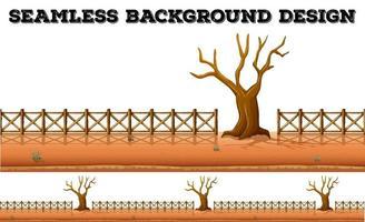 Fond transparent avec arbre séché et clôture vecteur