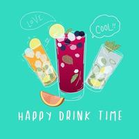 Affiche de cocktails Happy Drink Time vecteur