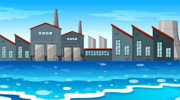 Une scène d'usine urbaine au bord de l'eau