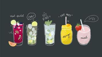 Collection de boissons gazeuses, boissons de désintoxication saines, cocktails, smoothies avec de délicieux fruits frais