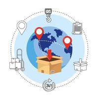 icônes de livraison avec boîte et globe montrant les points de la carte
