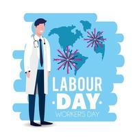 image de la fête du travail avec un médecin en uniforme vecteur