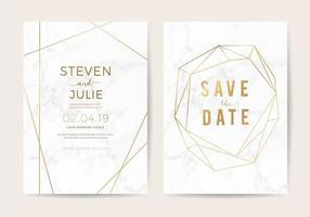 Cartes d'invitation de mariage de luxe avec texture en marbre blanc et bordure dorée