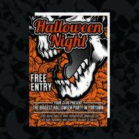 Flyer d'invitation à la fête d'Halloween orange vecteur