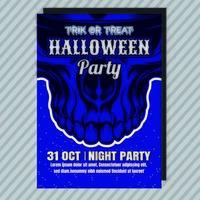 Flyer d'invitation à la fête d'Halloween bleue vecteur