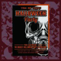 Brochure d'invitation à la fête d'Halloween avec masque à gaz vecteur