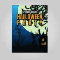 Halloween fête nuit fond vertical avec la pleine lune vecteur