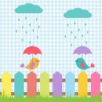Fond avec des oiseaux sous des parapluies