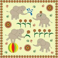 Carte rétro d'éléphants de bébé mignon vecteur