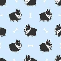 Fat boston terrier chien marche modèle sans couture de dessin animé vecteur