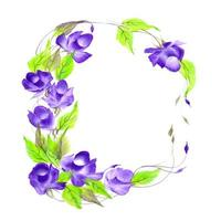 Belle composition florale aquarelle bleue et violette vecteur