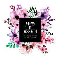 Invitation de mariage floral d'aquarelle vecteur