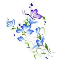 Belle composition florale aquarelle pourpre et bleue vecteur