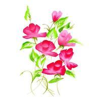 Belle aquarelle rose et arrangement floral rouge vecteur