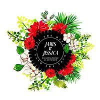 Faire-part de mariage floral aquarelle coloré vecteur