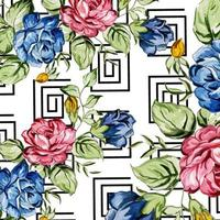 Aquarelle Memphis Floral Background vecteur