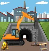 Scène de construction de route avec foreur vecteur