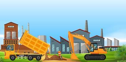 Deux camions de construction travaillant dans le domaine de l'usine vecteur