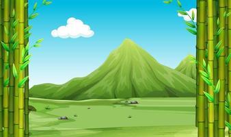 Scène nature avec bambou et collines vecteur