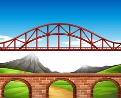 Scène de fond avec pont et mur vecteur