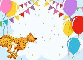 Modèle d'anniversaire guépard avec ballons