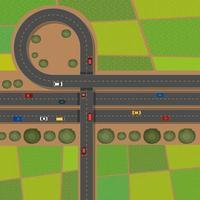 Scène aérienne avec des routes et des terres agricoles