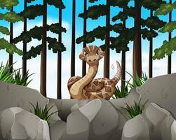 Scène de forêt avec serpent sauvage vecteur