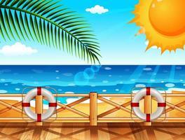 Scène avec quai au bord de l'océan en été
