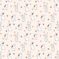 Seamless Pattern de lapin floral mignon vecteur