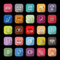 Icônes de ligne de gestion d'entreprise avec ombre portée