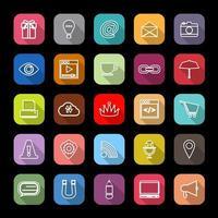 Icônes de ligne de site Web Internet avec ombre portée