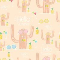 Bonjour l'été sans soudure de fond de cactus vecteur