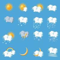 Icônes météo en style cartoon sur fond bleu.
