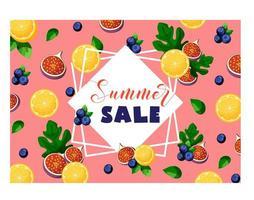 Bannière de vente d'été avec fruits et baies citron, figues, myrtilles et feuilles