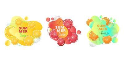 Bannières web heure d'été sertie de fruits citron, orange, pamplemousse et formes liquides abstraites