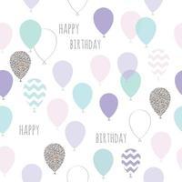 Joli anniversaire sans couture, motif de douche de bébé avec des ballons vecteur