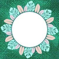 Cadre photo de cercle tropical vert frais vecteur