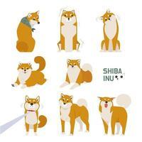 Ensemble Shiba Inu mignon vecteur