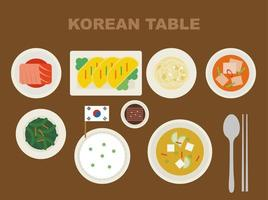 Nourriture coréenne sur la table vecteur