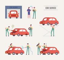 Mécaniciens et clients d'un atelier de réparation automobile vecteur