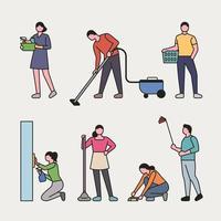 Ensemble de personnes nettoyant une maison vecteur