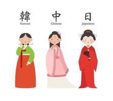 Jeu de caractères féminins en costume traditionnel asiatique vecteur