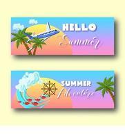 Bannières de vacances d'été sertie de palmiers