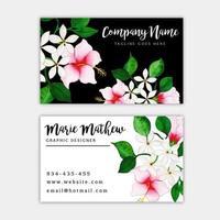 Carte de visite florale aquarelle vecteur