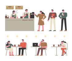 Les clients qui commandent au café