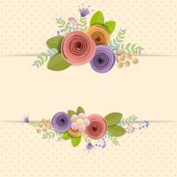 Bordure de fleurs en papier Craft avec espace pour le texte vecteur